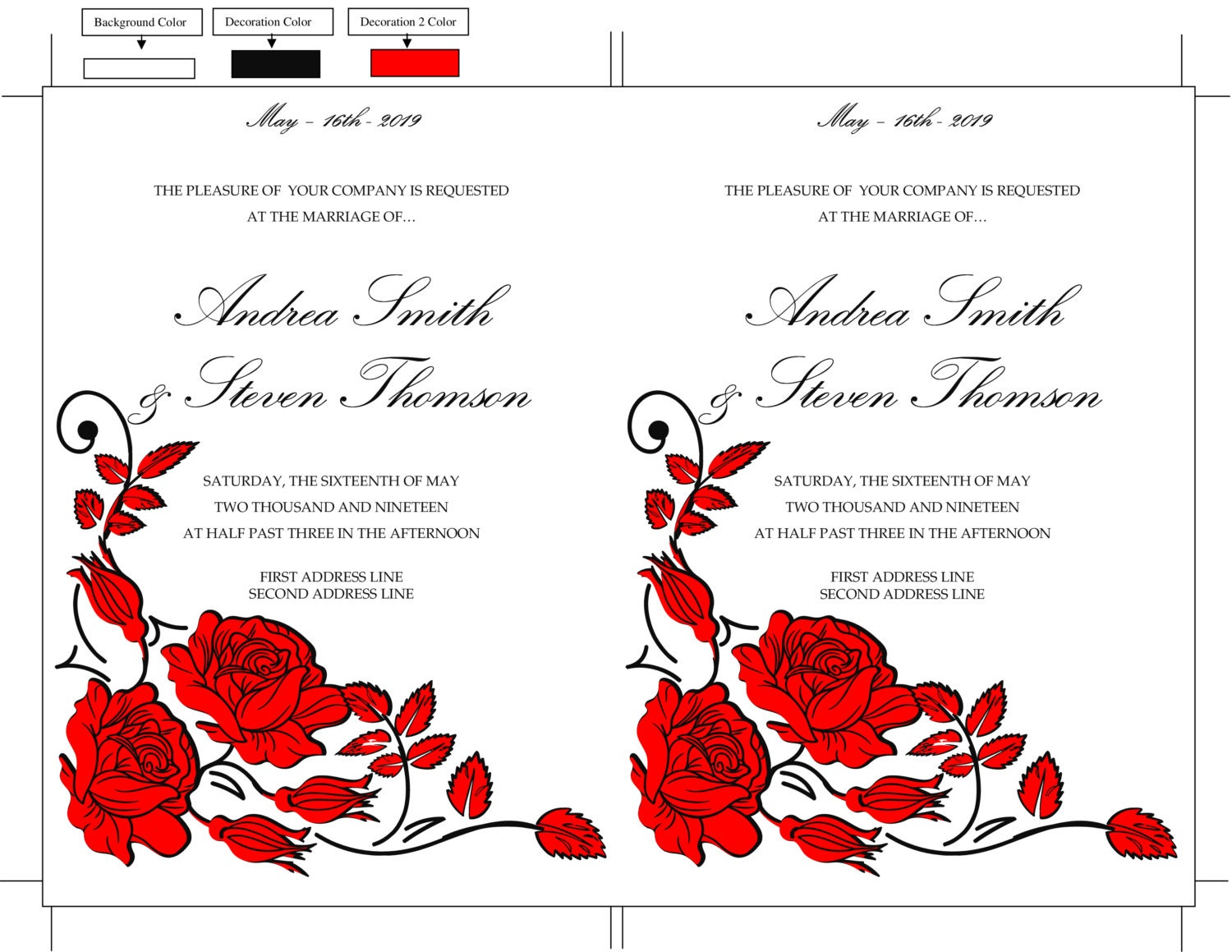DIY Wedding Invitation Template, Red Roses Invitation Card ...