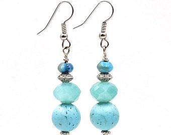Turquoise dangle earrings,  natural turquoise earrings, long aqua blue earrings, stainless steel earrings, glass earrings