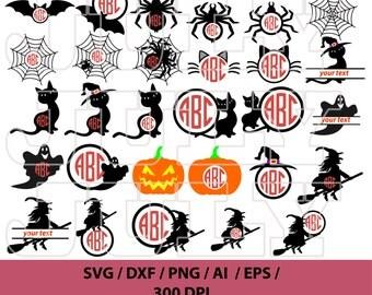 80% Off, Halloween svg, Halloween Silhouette, Halloween Clipart, Halloween Monograms, Halloween Monogram Frames, Pumpkin svg, Witch svg