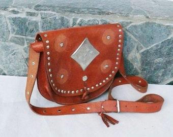 Vintage Tooled Leather Handbag, Crossbody Bag, 80s Leather Tooled Purse, Leather Brass Retro Lady Purse