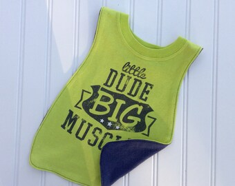 "Big Boy ""Little Dude Big Muscle"" T-Shirt Bib.  Perfect gift for babies and toddlers!"