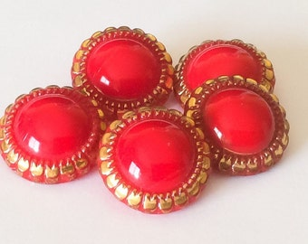 Red vintage glass button lot-5pc