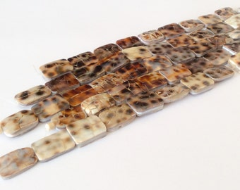 Shell beads, natural shell beads, cowrie shell beads rectangle-10pc