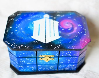 Doctor Who Box - Police box - Tardis handmade inspired wooden jewelry storage box , hand painted , wood box storage keepsake wood wooden box
