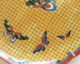 Vintage Japanese Butterfly Design Porcelain Plate