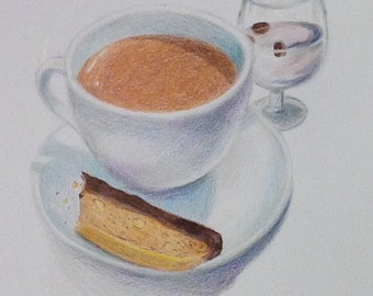 Coffee and Biscotti, Color Pencil Drawing