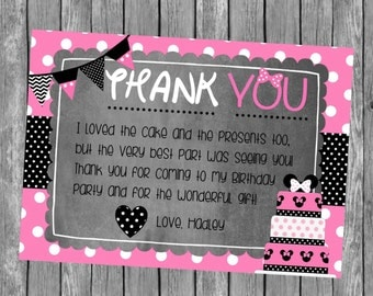 Minnie Mouse Thank You - Minnie Thank You Note - DIY Printable File