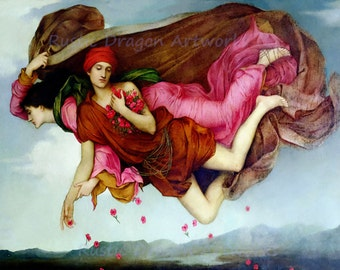 """Evelyn De Morgan """"Night and Sleep"""" 1878 Reproduction Digital Print  Heaven Dropping Flowers Day and Night Sending Love from Heaven"""