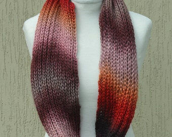 Red brown hand knitted scarf. Knitted cowl