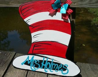 Dr. Seuss Hat door hanger, cat in the hat, Dr. Seuss signs, wood door hangers