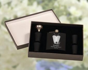 Personalized Bridesmaid Flask Gift Set - Wedding Favors - Wedding Flask - Custom Bridesmaid Gifts