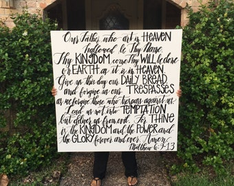 "The Lord's Prayer Canvas- HUGE 48""x48"" Handlettered"