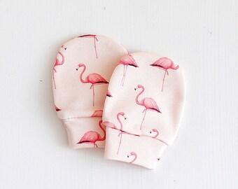 Flamingo Organic cotton baby mittens, baby mittens, mittens, no scratch mittens