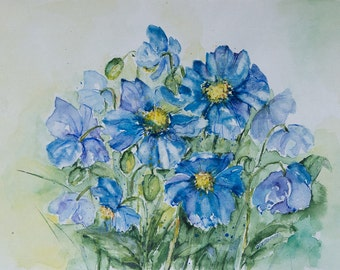 Blue painted flowers, Blue Anemones, Flowers painting, Still Life, Original Watercolor Painting, blue, aquarelle, floral art