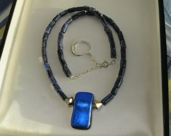 Dicroic Glass with Labradorite and Sterling Necklace
