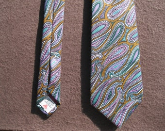 Turnbull & Asser Silk Tie with Blue ,Lavender and Brown Paisley Pattern,SALE 25.00
