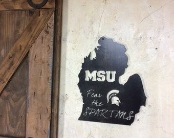 Fear the Spartans!!! MSU - Michigan State University Steel wall art