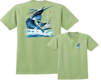 Two Sailfish out of water Deep Sea Fishing Salt Water T-Shirt