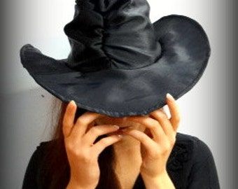Black ruched witch hat