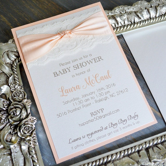 Peach and Ivory Lace Baby Shower Invitation - Peach Ribbon with Ivory Lace - Customizable (LAURA)