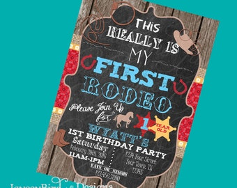 Cowboy Birthday Invitation Personalized This Aint My First Rodeo Boy Twins  Birthday Invitation