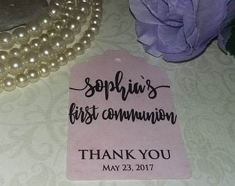 Personalized Communion Favor Tags - First Communion Tags - Boy & Girls Communion Tags - Set of 25 to 300 pieces