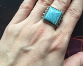 SALE!! Down from 176. Vintage Native American Turquoise RING, Size 7.5  with Black Web Number 8 Turquoise, Native American Jew