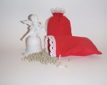 "10 Red Cotton Canvas Pouches * Red Cloth Purse * Red Bag with White Cotton Lace * Holiday Bags * 4.7"" x 6"" ( 12cm x 15cm )"