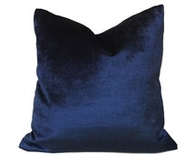 "Navy Blue Velvet Pillow Cushion Zipper Cover, Made to fit 12x18 12x24 14x20 16x26 16"" 18"" 20"" 22"" 24"" Inserts"