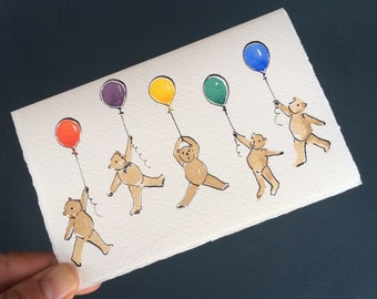 Birthday Balloon Bears Hand Drawn Card