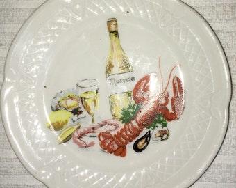 Vintage Berry Haute Porcelaine France Lotieux  Lobster Appetizer Dish 1940'sSALE
