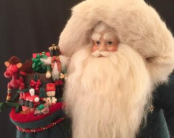 Santa Green Vintage toy Santa