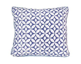 Blue Pillow- Blue and White- Geometric Pillow- Eastern- Cobalt Blue- Pillow Cover- Cornflour Blue- Modern- Contemporary- Pillow Cover