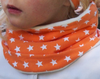 Kids infinity scarf, toddler loop scarf, ORANGE and STARS LOOP. 100% cottone fleece internal side.
