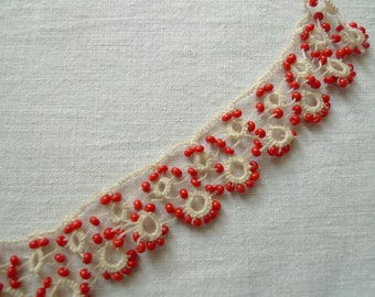 Vintage Beaded Lace Trimming // Turkish Traditional Lacework
