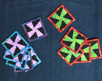 Quilted Coasters - Pinwheel Design