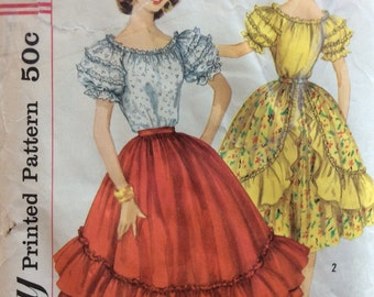 Simplicity 1909 junior misses peasant blouse and ruffled skirt size 11 bust 31 1/2  waist 24 1/2 vintage 1950's sewing pattern
