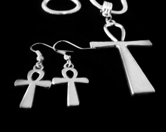Ankh necklace and earrings set   Best Ankh jewelry gift    Ankh jewelry   Ankh gift necklace and earring set