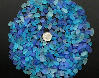 beach sea glass lot bulk wholesale mixed color blue cobalt turquoise purple-blue small pieces