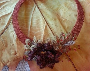 "Crochet wire with Ganutell ""Autumn 2"" necklace"