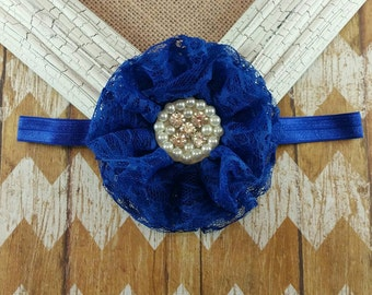 Royal blue lace flower headband,  blue lace headband,  blue flower headband, blue   headband, girls headband, Lace flower headband