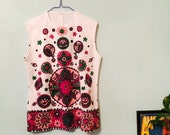 60s / 70s VINTAGE Flower Power Tunic Top - Psychedelic / Hippie / BOHO / Festival - Size 12 (item:182A)
