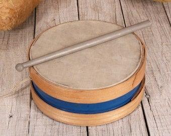 Children's drum - Small drum - Drum with plastic drumstick - Handmade musical instrument - Musical instrument drum - Carnival drum - Pigskin