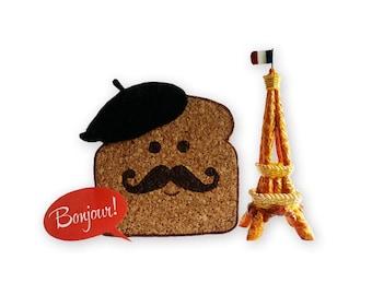 French Toast Coasters, Bread Coasters, Cork Drink Coasters, Cute Paris France Coasters, Funny Coasters, Set of 2