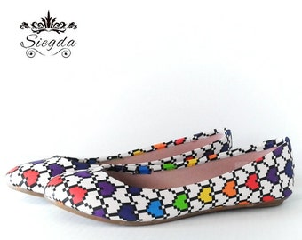 Rainbow Pixel Hearts Shoes- Choose Your Style