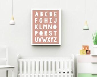 ABC Wall Art - Alphabet Print - Nursery Decor - Personalised Decor - Pink Wall Art - Digital Wall Print - Alphabet Poster - Girls Room Decor