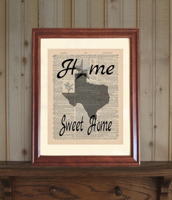 Texas Dictionary Print Texas Home Decor Home Sweet Home