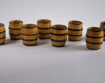 Set of 8 small ceramic barrel cups vintage  Made in France