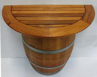 """Basic Wine Barrel Console Table With Teak Wood Table Top, 36""""W x 36""""H x 13""""D, CTT-26"""