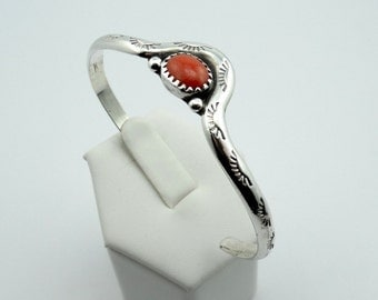 Native American Sterling Silver and Coral Cuff Bracelet  #SGCOR-CF2